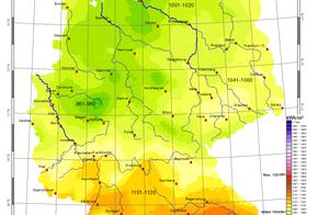Die Karte zeigt mittlere Jahressumme der Globalstrahlung in Deutschland von 1981-2010