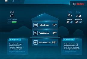 Homescreen der Anwendung Bosch HomeCom auf einem Smartphone