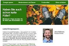 Newsletter-Screenshot: Themen, Überschrift und Editorial mit Absender-Portrait